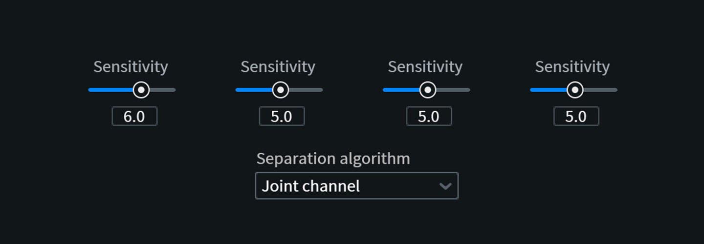 Sensitivity sliders in the Music Rebalance module in RX 7