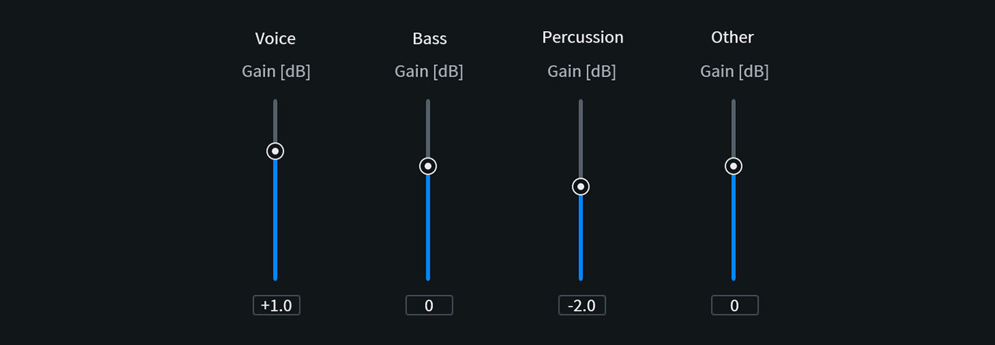 Gain sliders in the Music Rebalance module in RX 7