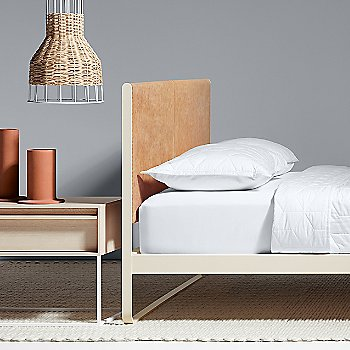 Rule Nightstand with Flange Decorative Vessel, Laika Small Pendant Light and Me Time Leather Bed