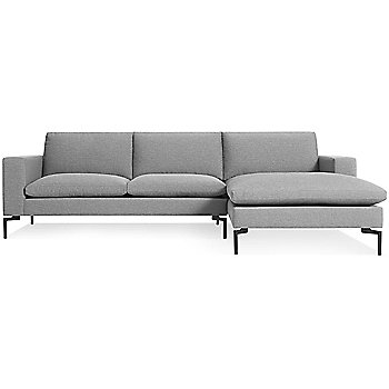 Shown in Spitzer Grey, Black Leg finish, Right Arm Chaise