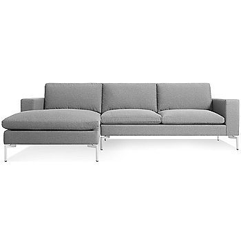 Shown in Spitzer Grey with White leg finish, Left Arm Chaise