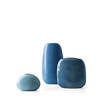Small, medium and large Flavour Vases in glossy light blue, matte air force blue, and glossy pale blue