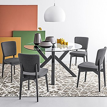 Graphite Frame/Smoke Gray Seat pictured in use with the Mikado Round Table
