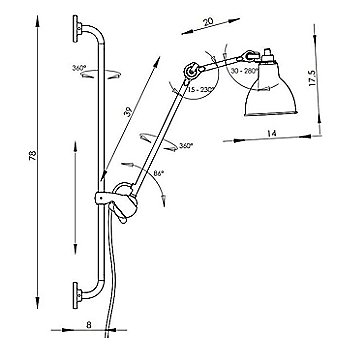Dcw Editions La Lampe Gras No 210 Swing Arm Wall Light Ylighting Com