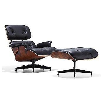 Shown in 2100 Leather Black fabric with New Oiled Santos Palisander frame finish