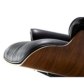 Shown in 2100 Leather Black fabric with Santos Palisander frame finish