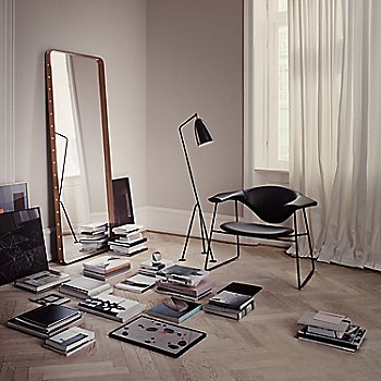 Adnet Rectangulaire Mirror with Grasshopper Floor Lamp