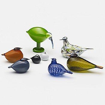 Toikka Bird - Kuulas Rain with Toikka Bird - Ruby, iittala Toikka Green Ibis and iittala Toikka Kuulas Orange