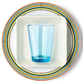 Teema Square Plate with iittala Kartio Large Tumblers and iittala Origo Orange Dinner Plate