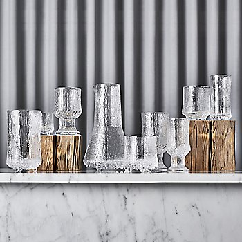 Ultima Thule Set of 2 Champagne Glasses - Wirkkala Anniversary with Ultima Thule Set of 2 Cordial Glasses and Iittala Ultima Thule Anniversary Carafe