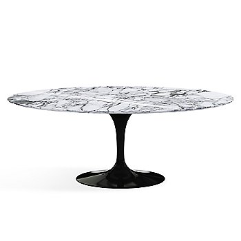 Shown in Arabescato Marble Polished top, Black base