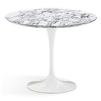 Shown in Carrara White-Grey Satin Coated Marble Top with White Base, 36 Inch