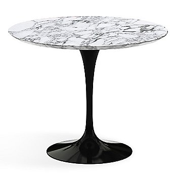 Shown in Arabescato White-Grey Satin Coated Marble Top  with Black Base, 36 Inch