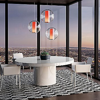 Shown in White Glass on White Lacquer finish, 63 inch
