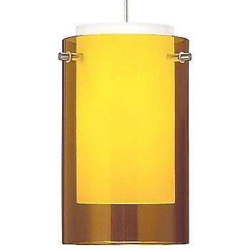 Shown in Amber glass, Satin Nickel finish