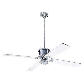 White fan blade finish with Galvanized fan body finish / No Light