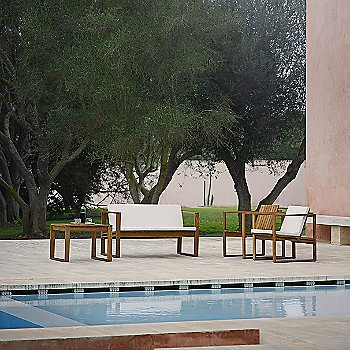 BK12 Lounge Sofa with Cushion with BK11 Lounge Chair, BK11 Lounge Chair with Cushion and BK16 Side Table