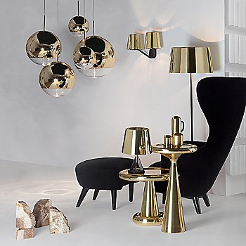 label=Mirror Ball Mini Pendant Light  with Spun Table - Tall, Spun Table - Short, Wingback Chair and Wingback Ottoman