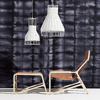 Toro Lounge Chair with Laika Small Pendant Light, Laika Medium Plus Pendant Light and Toro Ottoman
