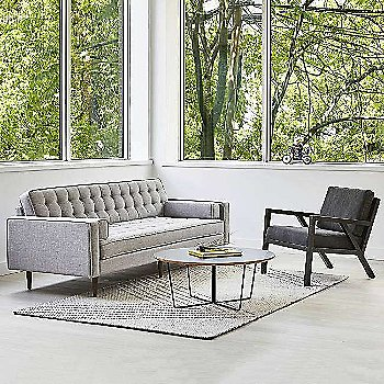 Shown in Bayview Silver fabric with Walnut leg finish