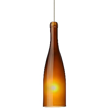 Shown in Satin Nickel finish, Amber Frost shade, Small size