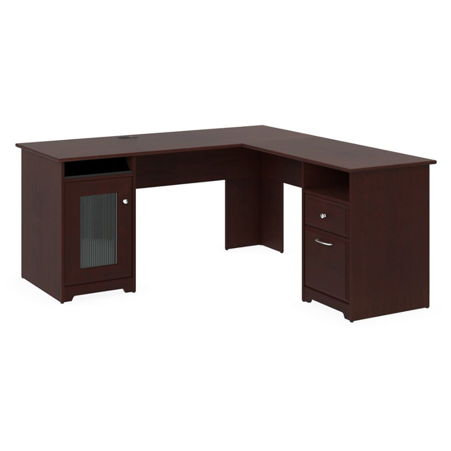 bush furniture cabot l shaped desk harvest cherry standard delivery by office depot u0026 officemax
