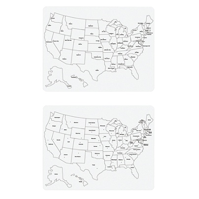Creativity Street Sided US Map Dry Erase White Board X - Us map dry erase