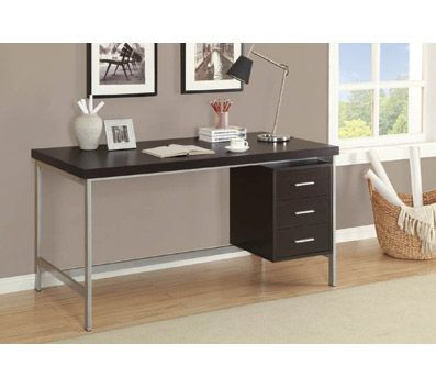 Monarch Specialties Metal Computer Desk With 3 Drawers CappuccinoSilver By Office  Depot U0026 OfficeMax