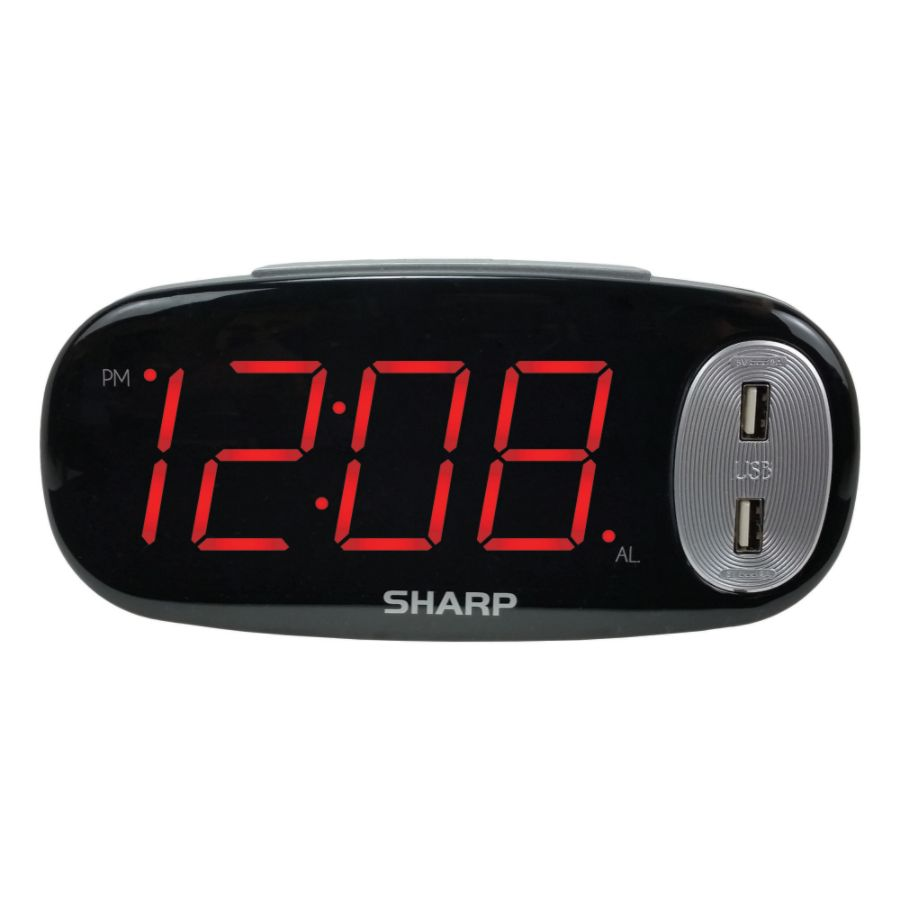 sharp digital alarm clock with usb charge port. sharp large display led digital alarm clock with 2 usb charge ports 3 12 x 7 black by office depot \u0026 officemax usb port
