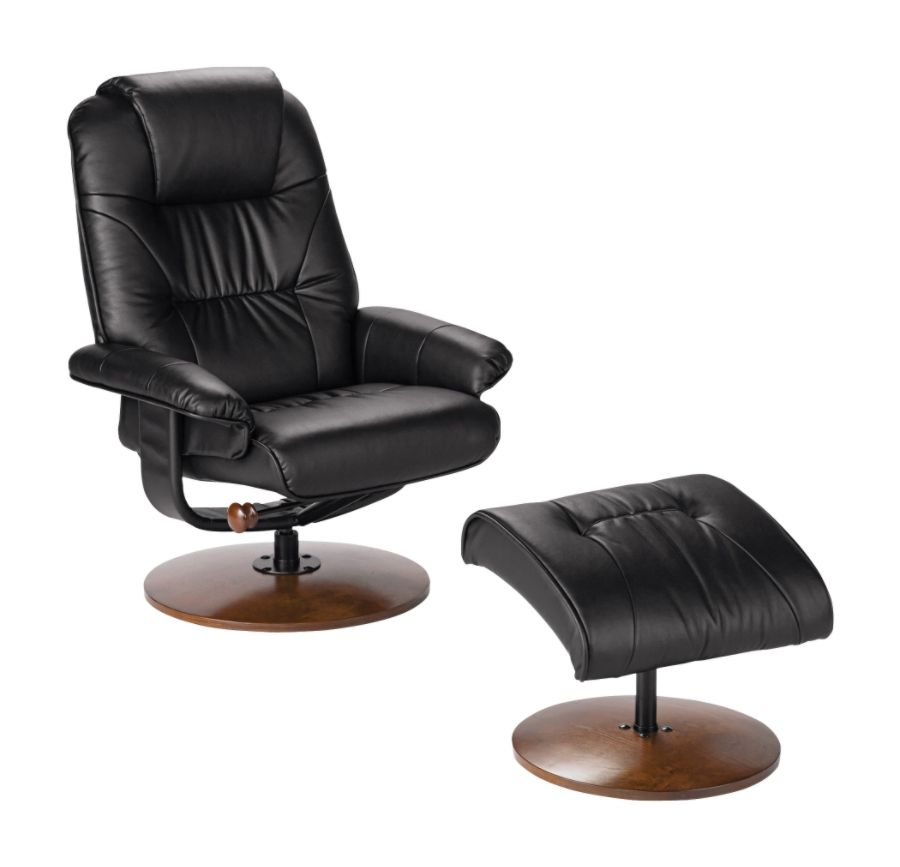 Southern Enterprises Naples Leather Reclining Chair And Ottoman Set Black by Office Depot u0026 OfficeMax  sc 1 st  Office Depot & Southern Enterprises Naples Leather Reclining Chair And Ottoman ... islam-shia.org