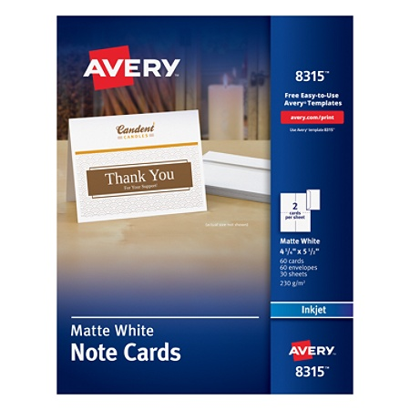 Avery inkjet note cards 4 14 x 5 12 white pack of 60 by office avery inkjet note cards 4 14 x 5 12 white pack of 60 by office depot officemax pronofoot35fo Image collections