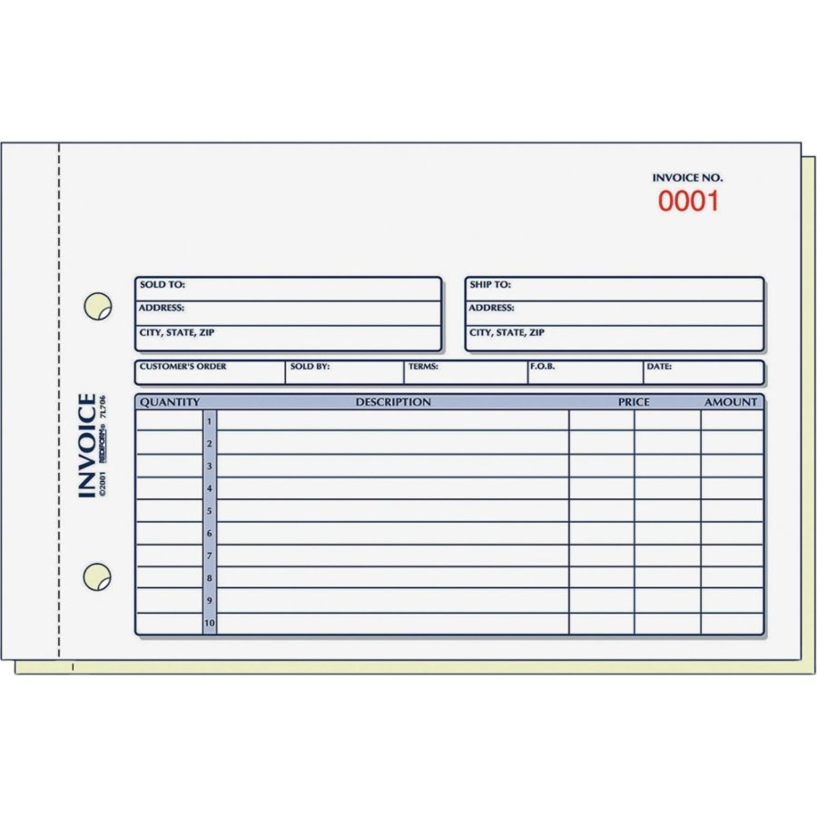 Rediform 2 Part Carbonless Invoice Form 50 Sheets Stapled 2 Part