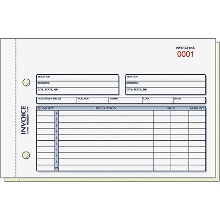 Rediform 2 Part Carbonless Invoice Form 50 Sheets Stapled 2 Part