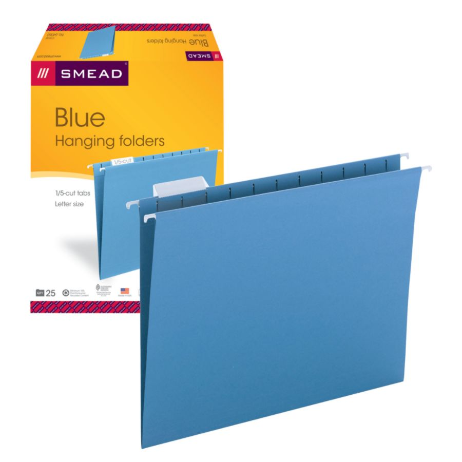 smead hanging file folders 15 cut adjustable tab letter size blue box of 25 by office depot u0026 officemax