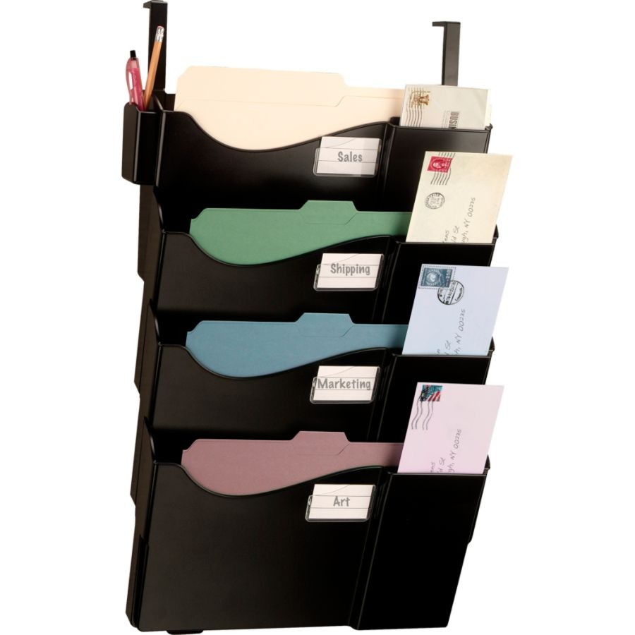 Superb Office Depot Brand Wall Pockets With 4 Hangers Letter SizeLegal Size Black  By Office Depot U0026 OfficeMax