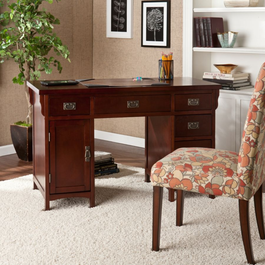 Southern Enterprises Mission Wood Computer Desk Dark Cherry By Office Depot  U0026 OfficeMax