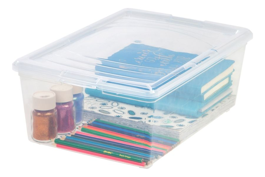 office depot brand clear plastic storage boxes 135 qt pack of 2 by office depot u0026 officemax