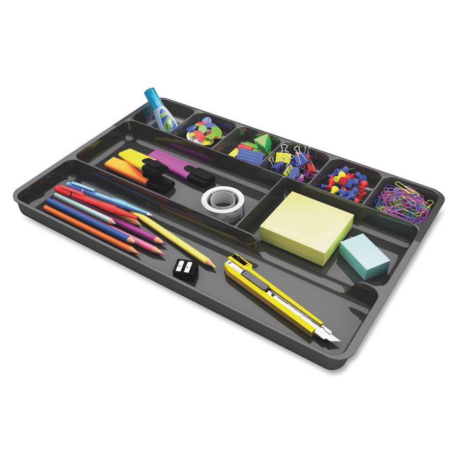 Deflect O Plastic Desk Drawer Organizer 1 H X 14 W X 9 D Black By Office  Depot U0026 OfficeMax