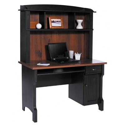 Realspace Shore Mini Solutions Computer Desk With Hutch Antique Black by  Office Depot & OfficeMax - Realspace Shore Mini Solutions Computer Desk With Hutch Antique