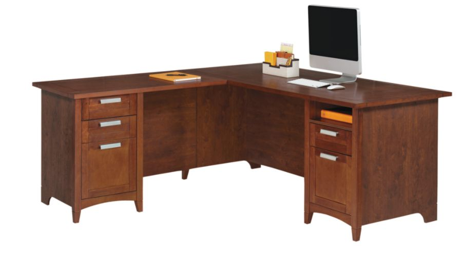Realspace Marbury L Shaped Desk Auburn Brown by Office Depot