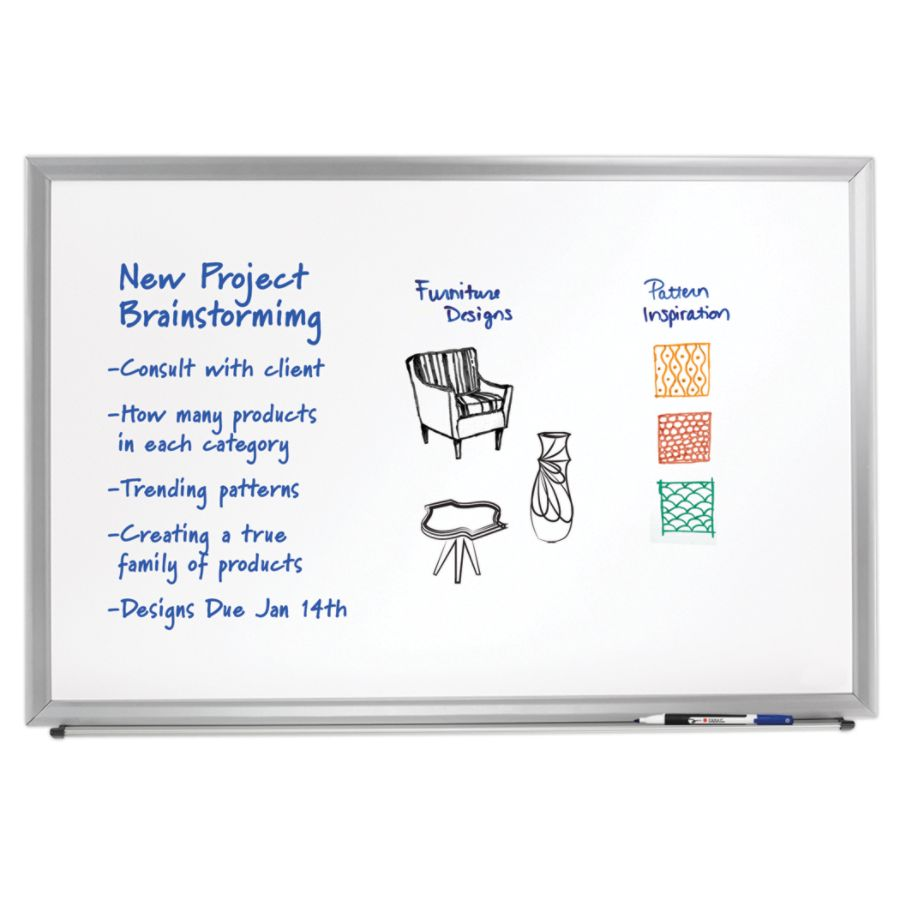 foray aluminum framed dry erase board with marker 24 x 36 white board silver frame by office depot u0026 officemax - Rolling Whiteboard