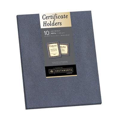 southworth certificate holders 9 12 x 12 metallic gray pack of 10