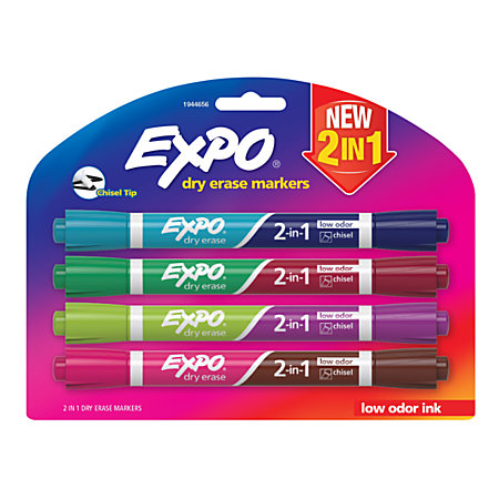 EXPO 2 in 1 Double Sided Dry Erase Markers Chisel Point