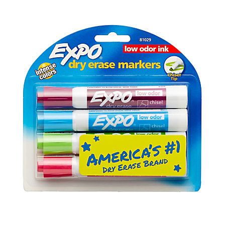 EXPO Low Odor Dry Erase Markers Chisel Point Assorted