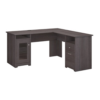 Bush Furniture Cabot L Shaped Desk Heather Gray Standard Delivery By Office Depot Officemax