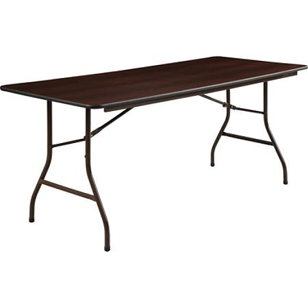 Lorell Laminate Economy Folding Table 30 W x 72 D Mahogany by