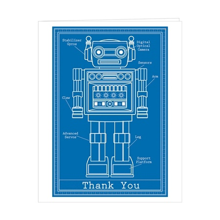 Retrospect thank you note cards with envelopes 4 12 x 5 78 retrospect thank you note cards with envelopes 4 12 x 5 78 blueprint robot box of 10 by office depot officemax malvernweather Gallery
