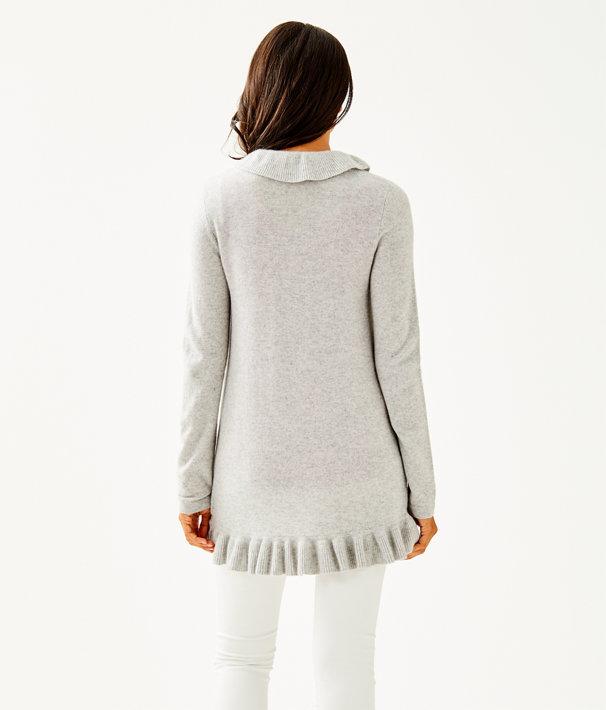 Shere Cashmere Cardigan, Heathered Foggy Grey, large