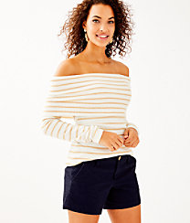 Christin Off The Shoulder Sweater, Coconut Coastal Shell Stripe, large