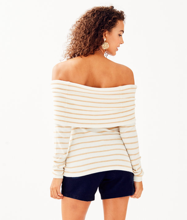 Christin Off The Shoulder Sweater, Coconut Coastal Shell Stripe, large